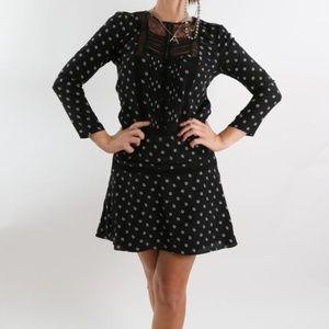 Veronica Beard 100% silk black long sleeve dress